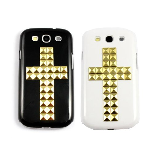 hion Glod Cross Style Punk Spikes and Studs Rivet Case Cover For Samsung Galaxy S3 i9300(White & Black) +Screen Protector ()