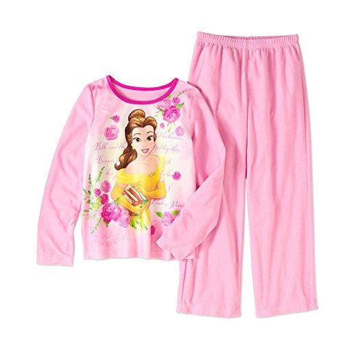 Disney Beauty and the Beast Princess Belle Flannel 2 Piece Girls Pajama Set (6/6X) ()