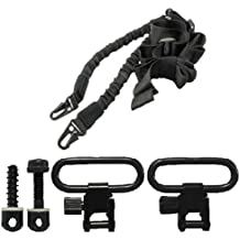 """Ultimate Arms Gear Two QD 1"""" Inch Slot Loop Detachable Screw and Nut Studs Swivels with Spacers + Two-Point Sling, Black Springfield Armory, M1A, M1-A Garand/Carbine, Socom Rifle"""