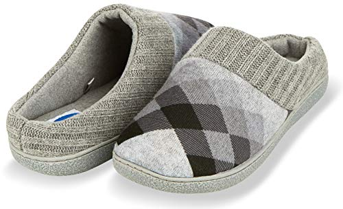 Floopi House Slippers for Women| Argyle Knit/Terry Lined & Ribbed Hand-Knit Collar Clog | Hard Rubber Sole for Indoor/Outdoor Use| All-Season Bedroom Slip-on W/Memory Foam Insole (L, Black-314)