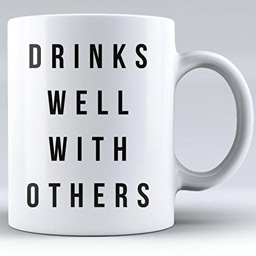 Wine Coffee Mug, Alcohol Drinking Mug, Kombucha Mugs Funny, Drinks Well With Others Mug, Novelty Mug, Mug for Mom, Sister, Aunt, Friend (white, 11 oz)
