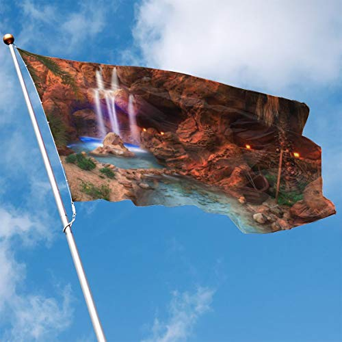 YUANSHAN Home Garden Flag Red Rock and Waterfall Polyester Flag Indoor/Outdoor Wall Banners Decorative Flag 3' X 5'