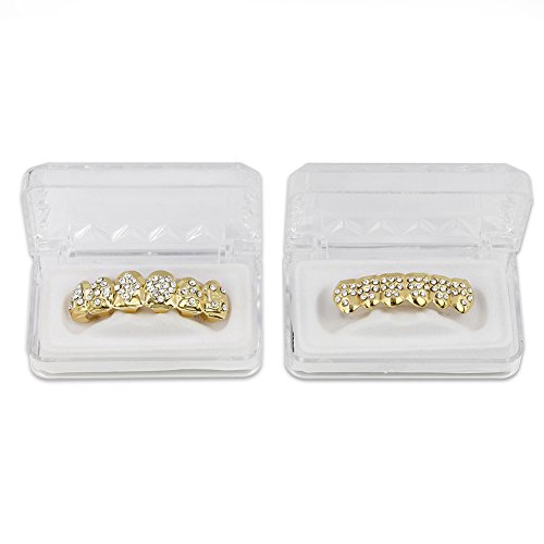 TOPGRILLZ 18K Gold Plated Iced Out Hip Hop Poker Top & Bottom Teeth Caps Grillz Set