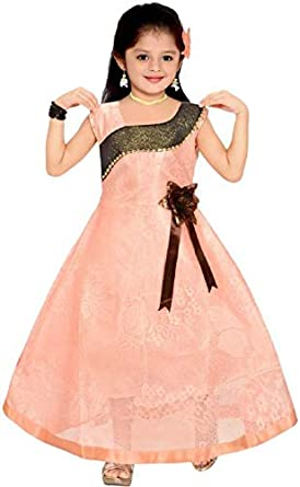 cbe3568103 Ark Cute Baby Fashion Girl s Maxi Full Length Frock Gown Dresses Bright  Party Casual Wear Frock