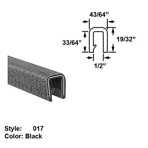 Heavy Duty Vinyl Plastic U-Channel Push-On Trim, Style 017 - Ht. 19/32'' x Wd. 43/64'' - Black - 25 ft long by Gordon Glass Co.