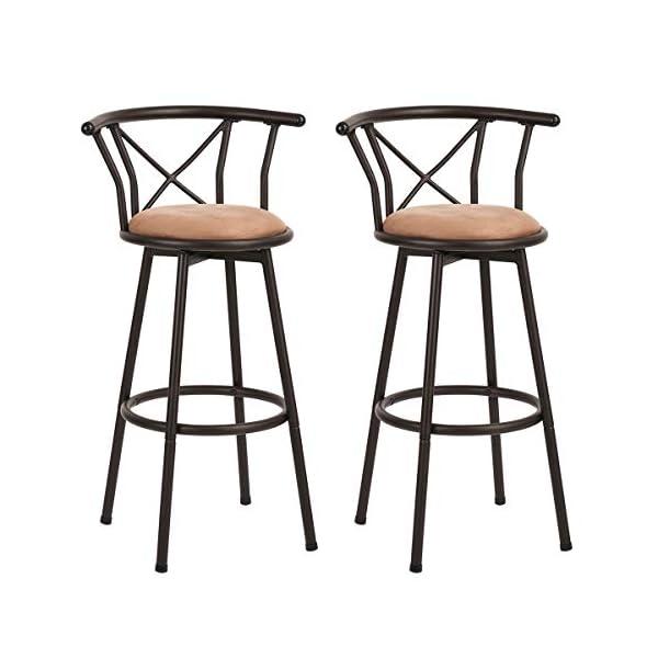 Homy Casa Lot de 2 tabourets de Bar industriels de Style Chaise Vintage avec Repose-Pieds Design en Mousse rembourrée de…