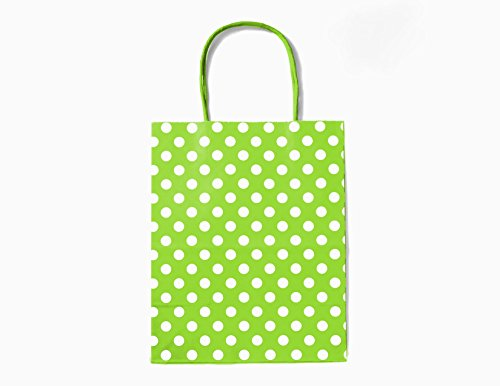 12CT MEDIUM LIME GREEN POLKA DOT BIODEGRADABLE, FOOD SAFE INK & PAPER, PREMIUM QUALITY PAPER (STURDY & THICKER), KRAFT BAG WITH COLORED STURDY HANDLE (Medium, P.Lime Green) -