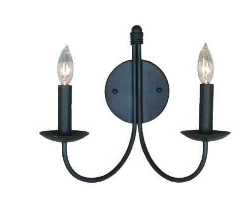 Artcraft Lighting Pot Racks 2-Light Wall Sconce Light, Black (Steel Sconce Halogen)