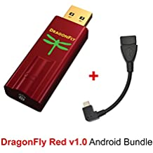 Android Bundle for AudioQuest DragonFly Red USB DAC, Preamp, Headphone Amp and Micro OTG USB 2.0, 5in