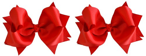 ls (2) 4.5 inch Grosgrain Ribbon Hair Bows ~ Funny Girl Designs (Red) (Red Bows)