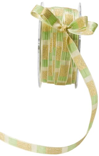 May Arts 3/8-Inch Wide Ribbon, Parrot Green and Ivory Stripe ()