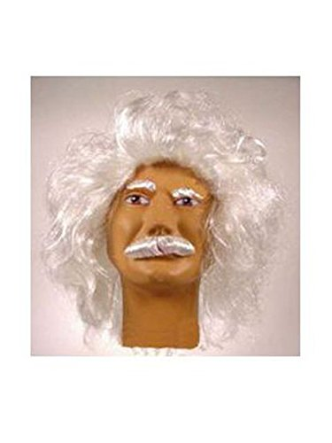 Forum Novelties Men's Heroes In History Albert Einstein Costume Wig and Mustache, White, One Size -