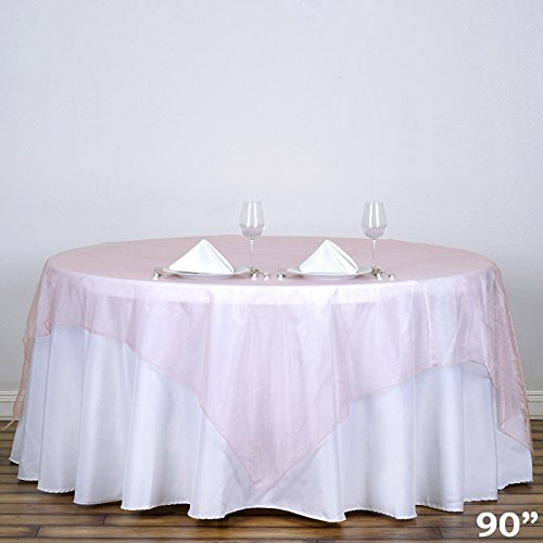 - BalsaCircle 90x90-Inch Blush Sheer Organza Table Overlays - Wedding Reception Party Catering Table Linens Decorations