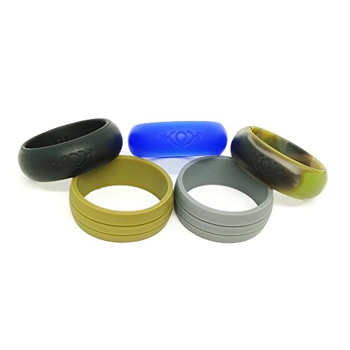 D'envol Mens Womens Silicone Wedding Rings Design,Silicone Wedding Bands Comfort Fit The Active Lifestyle (Army Green, Dark Grey, Green camo, RoyalBlue, Black, 7)