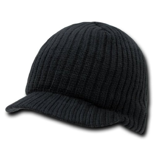 Decky Knit Visor Beanie (Decky Knit Visor Beanie Campus Jeep Cap (One Size, Black))