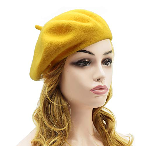 Wheebo Wool Beret Hat,Solid Color French Style Winter Warm Cap for Women Girls Lady (Beret Hat-Dark Yellow-FBA) ()