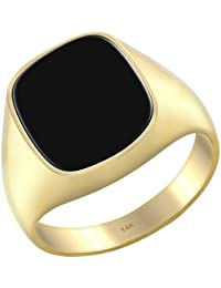Men's 14k Yellow Gold Genuine Black Onyx Solid Back Ring, Size 8 to 14