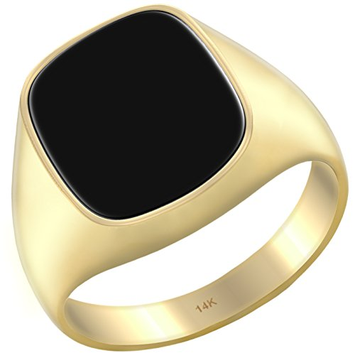 US Jewels And Gems Men's 14k Yellow Gold Genuine Black Onyx Solid Back Ring, Size 8