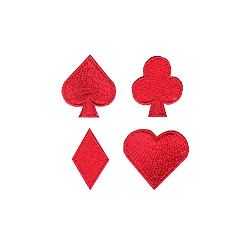 Playing Cards Red Suits Set Iron On Embroidered Applique (Playing Card Applique)
