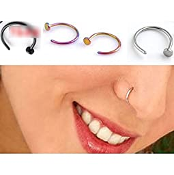 HuntGold 2 Pcs Unisex Nose Open Hoop Ring Earring Stainless Steel Nose Stud Nose Ring(gold)