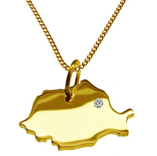 Endroit Exclusif Roumanie Carte Pendentif avec brillant à votre Désir (Position au choix.)-avec Chaîne-massif Or jaune de 585or, artisanat Allemande-585de bijoux