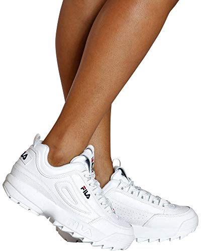 Fila Women's Disruptor II Premium Sneakers, White/Fila Navy/Fila Red, 9 M US