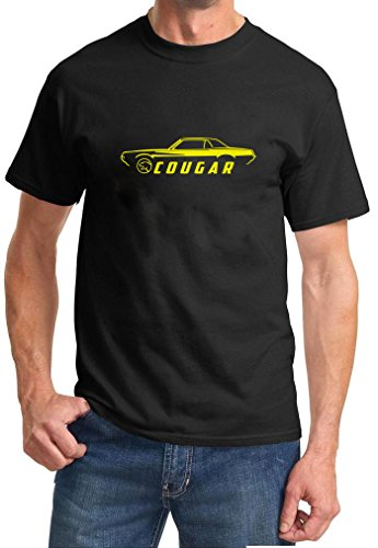 1967 Mercury Cougar (1967-68 Mercury Cougar Coupe Classic Color Outline Design Tshirt 2XL yellow)