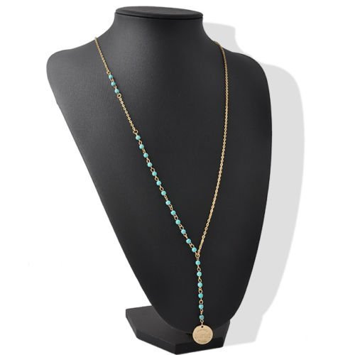 WKShop Fashion Jewelry Boho Chic Women Lady Beads Turquoise Coin Class Pendant Necklace]()
