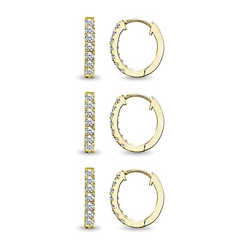 3 Pair Set Gold Flash Sterling Silver Tiny Small 15mm Prong-set Cubic Zirconia Oval Huggie Hoop Earrings