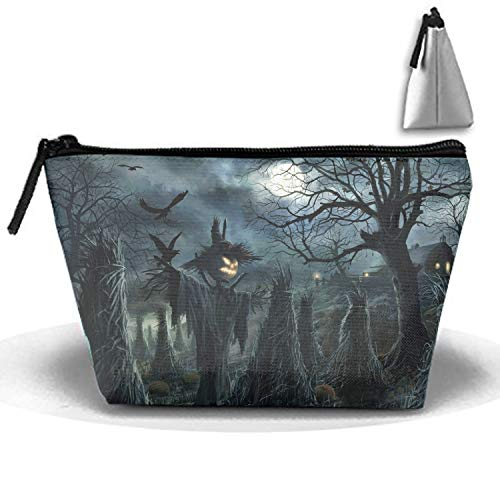 Halloween Scarecrow Cosmetic travel Bag, Waterproof Toiletry Clutch Pouch Beach Trapezoid Handbag organizer ()