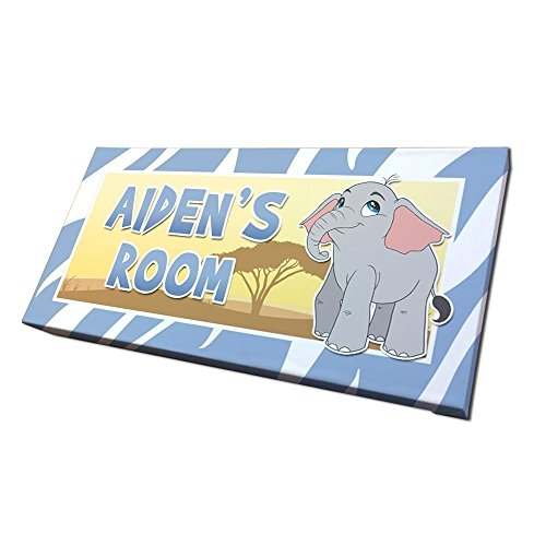 Elephant Door Sign for Nursery or Kids Room with Personalized Name and Custom ()