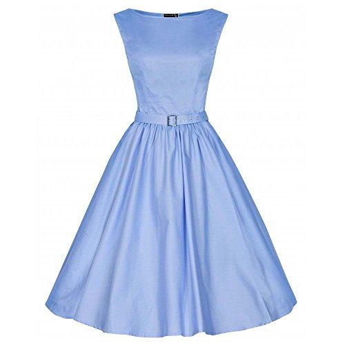 DaBag noche vestidos de retro palabra Un de Azul libre impresión y oscilación hombro de mangas puro color sin correa delgado Audrey vestido Hepburn rOTrg7qxw