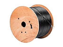 Monoprice Cat5e Ethernet Bulk Cable - Network Internet Cord - Solid, 350Mhz, STP, Pure Bare Copper Wire, Outdoor, 24AWG, 1000ft, Black