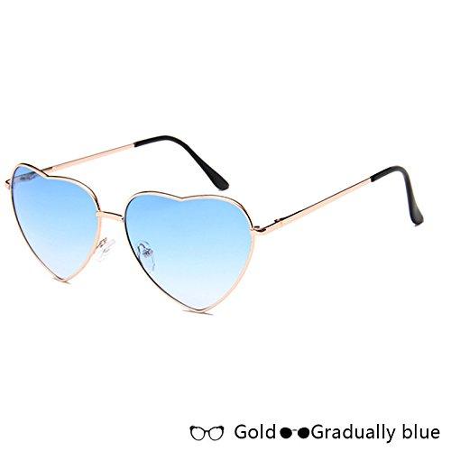 Azul De Sol Sol De De Mujer GoldGradually Oro Gafas TIANLIANG04 De Forma Gafas Rosa W blue Atrás Lujo En De W Moda Corazón qU6fnA