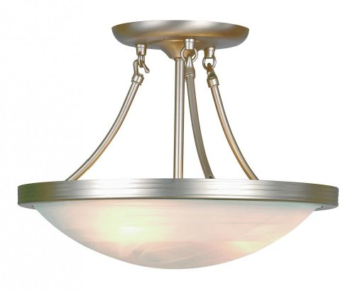 - Three Light Brushed Nickel White Marbleized Glass Bowl Semi-Flush Mount