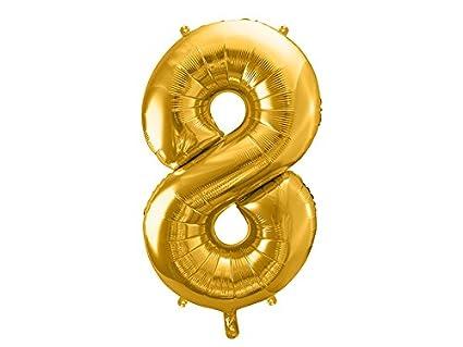 PartyDeco- Globo Mylar con Forma de número 8 Ocho de Oro, 86 ...