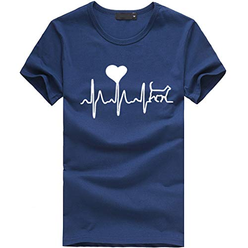 Doll Zelda Rag - NCCIYAZ Womens Electrocardiogram Love Printed T-Shirt Top O-Neck Short Sleeve Plus Size Ladies Slouch Blouse(L(8),Navy)
