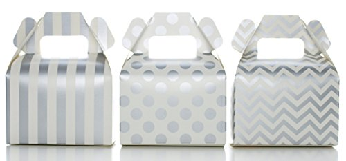Candy Box Kit, Silver Wedding Party Favors (36 Pack) - Stripe, Chevron & Polka Dot Gable Boxes for Birthday Party Supplies & Candy Buffet Decorations