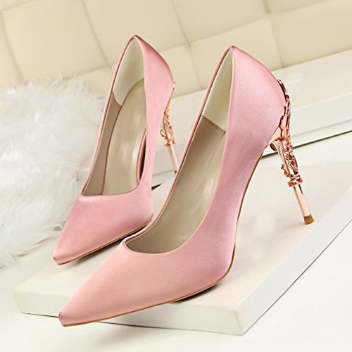 Métallique Femme Satin Elégant Escarpins Bout Haut Rose Talon Pointu Soirée Chaussures OALEEN xOqzXq