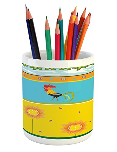 Rooster Clipart - Lunarable Gallus Pencil Pen Holder, Rooster Pattern with Sunflowers Summer Greenery Sky Floating Clouds Clipart, Printed Ceramic Pencil Pen Holder for Desk Office Accessory, Earth Yellow Blue