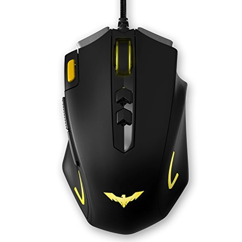 HAVIT HV-MS732 4000 DPI LED Optical Programmable Gaming Mouse for PC (Black+Yellow)
