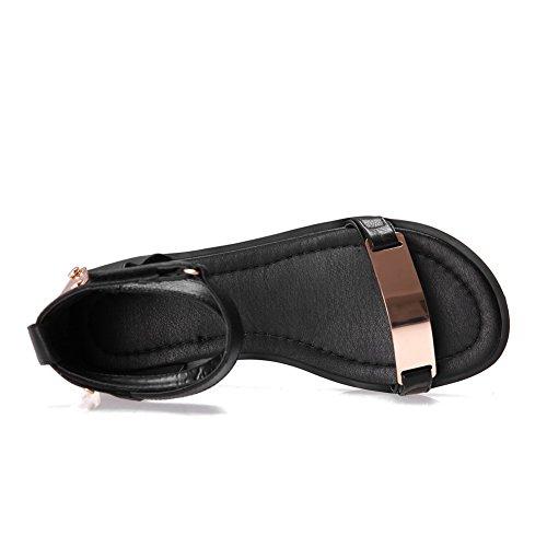 Aalardom Mujeres Low Heels Solid Hook And Loop Sandalias De Punta Abierta Negro