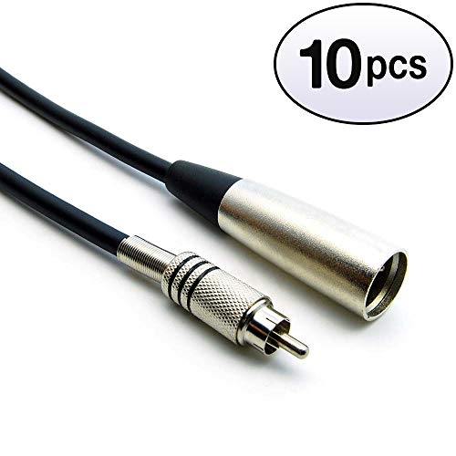 GOWOS (10 Pack) 25Ft XLR 3P Male to RCA Male