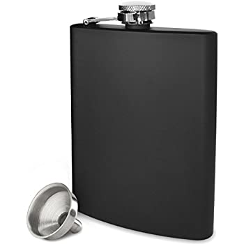 Premium 8 oz Black Flask - 304 (18/8) Stainless Steel - Leak Proof - Liquor Hip Flask by Future Hydrate - Includes Free Bonus Funnel and Black Gift Box (Matte Black, 8 ounce capacity)