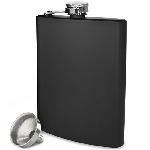 lask - Highest Food Grade (304) Stainless Steel - Leak Proof - Liquor Hip Flasks - Free Bonus Funnel and Black Gift Box (Matte Black, 8 ounce capacity) (Matte Stainless Steel Flask)