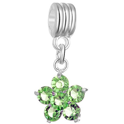 RUBYCA 5Pcs Flower Dangle Pendant Charm Beads Crystal Rhinestone European Bracelet Peridot Green
