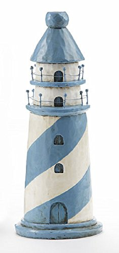 Delton Light House 11.3 in Blue Stripe Resin Nautical Decor Accent Blue, White