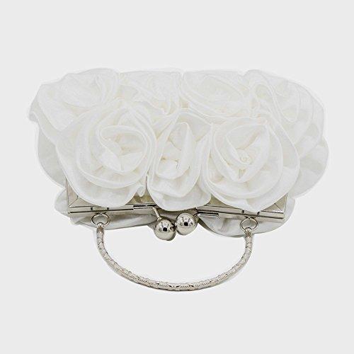 Señoras de las mujeres de la vendimia de embrague de seda Rose Evening bolso bolso de la boda Blanco