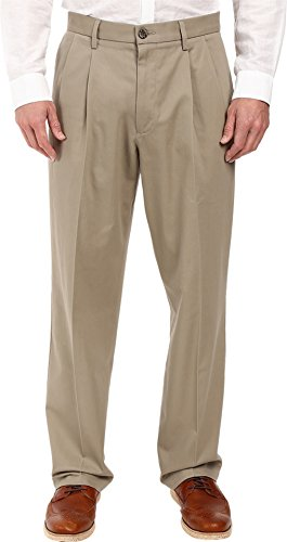- Dockers Men's Relaxed Fit Stretch Signature Khaki Pants - Pleated D4, Timberwolf (Stretch), 38W x 29L