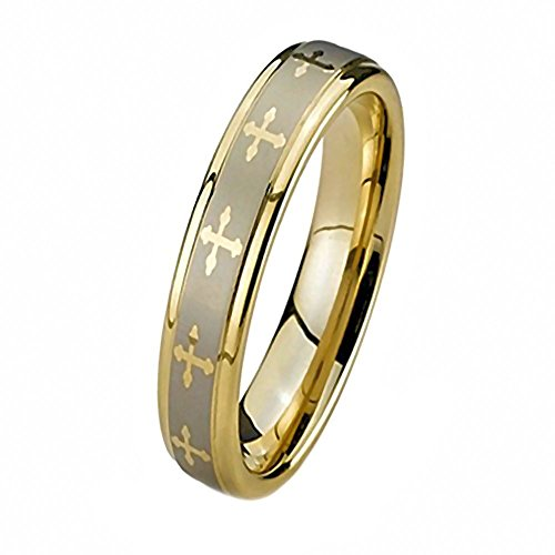 Celtic Cross: Unisex Comfort Fit Band Ring Stainless Steel & IP Gold-tone Finish, 3265 sz (Best 1000 Jewels Friends Unisex Rings)